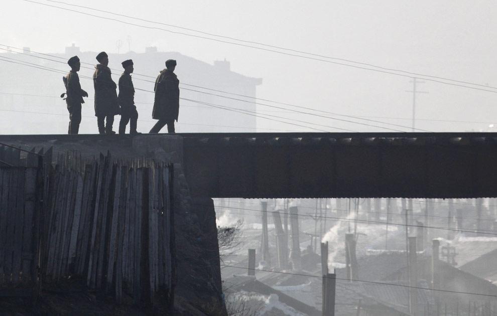Border Guards On Railway Bridge